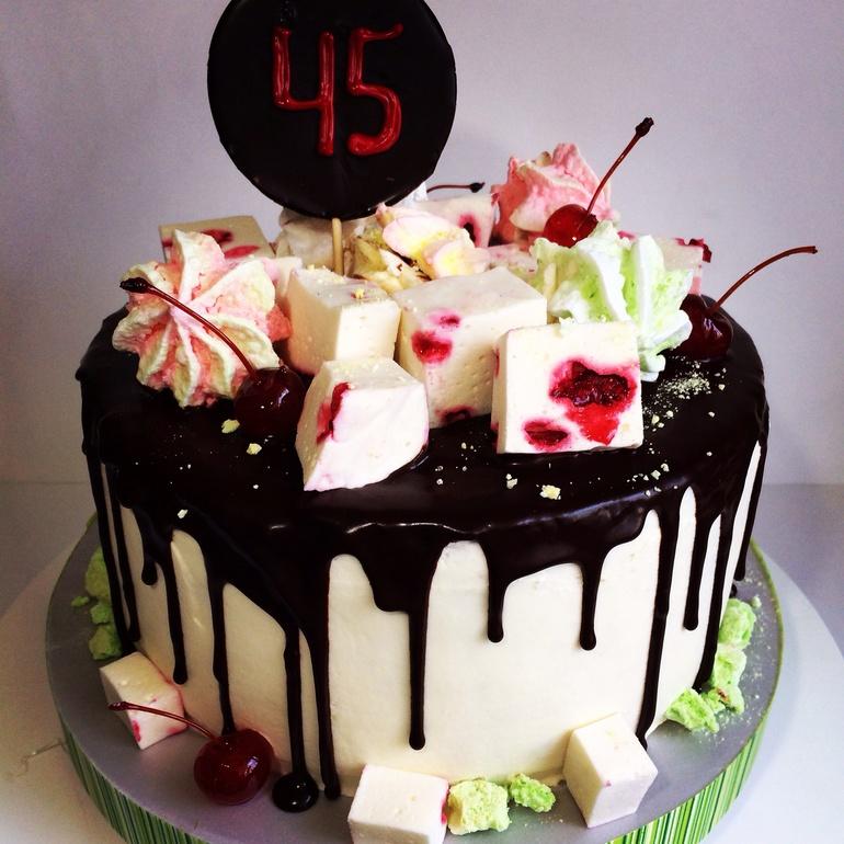 Украсить торт фруктами и шоколадом своими руками фото