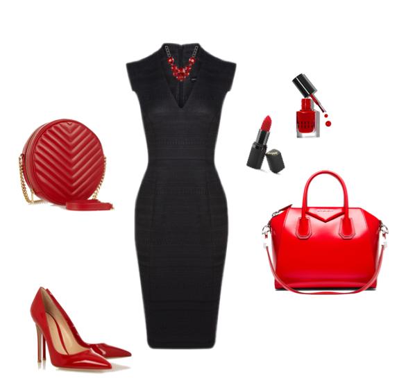 Черное платье с красным