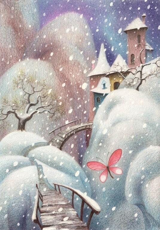 Картинки на которых нарисованы белочки зимой