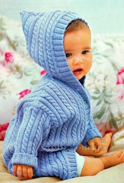 кофточка с капюшоном на малыша описание работы детская кофта с