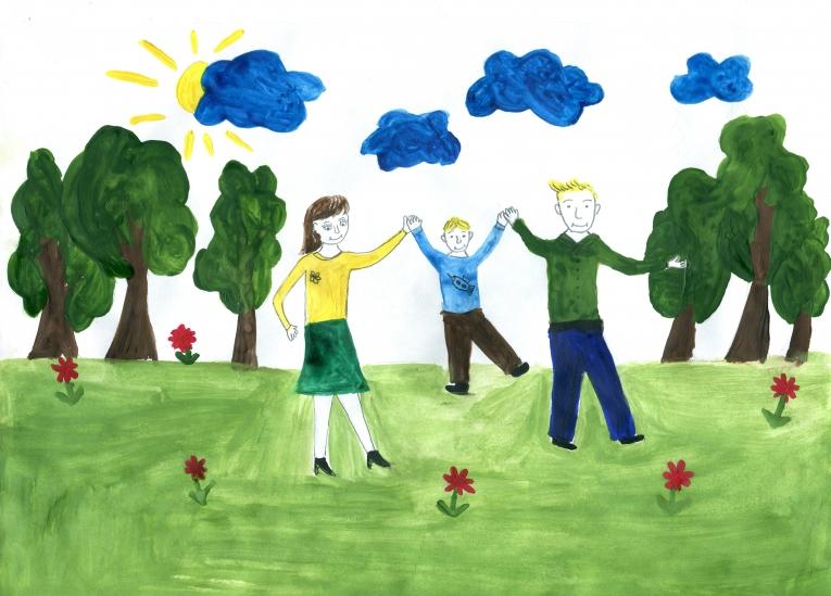 Рисунки как мы с папой гуляем
