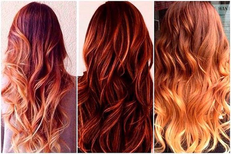 Модное окрашивание на длинный рыжий волос фото
