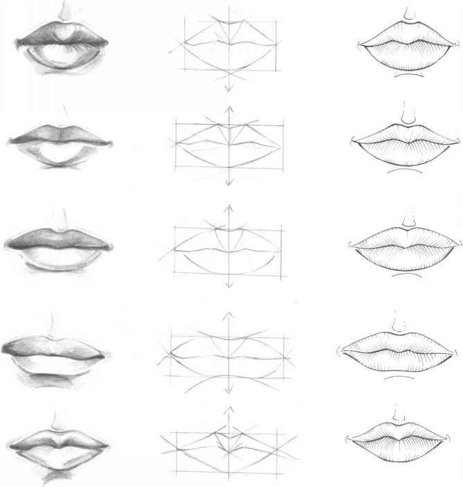 Как рисовать губы карандашом поэтапно