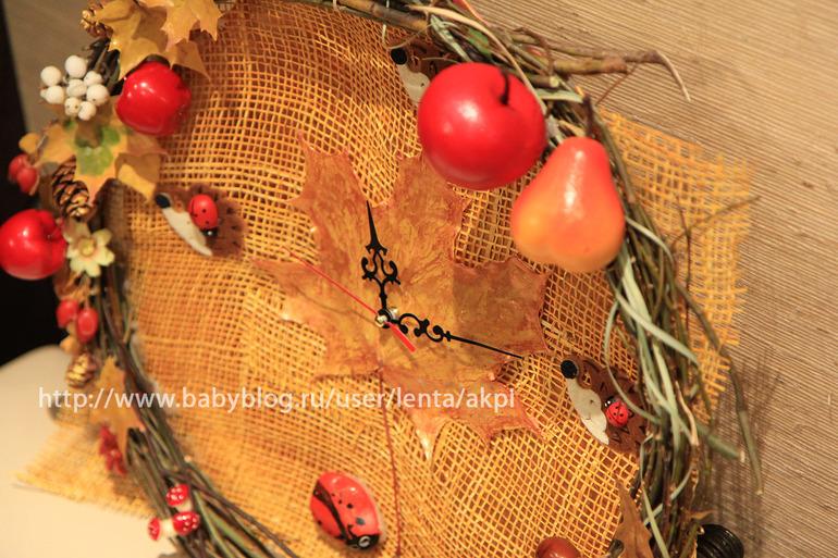 Часы из природного материала своими руками на тему осень 50