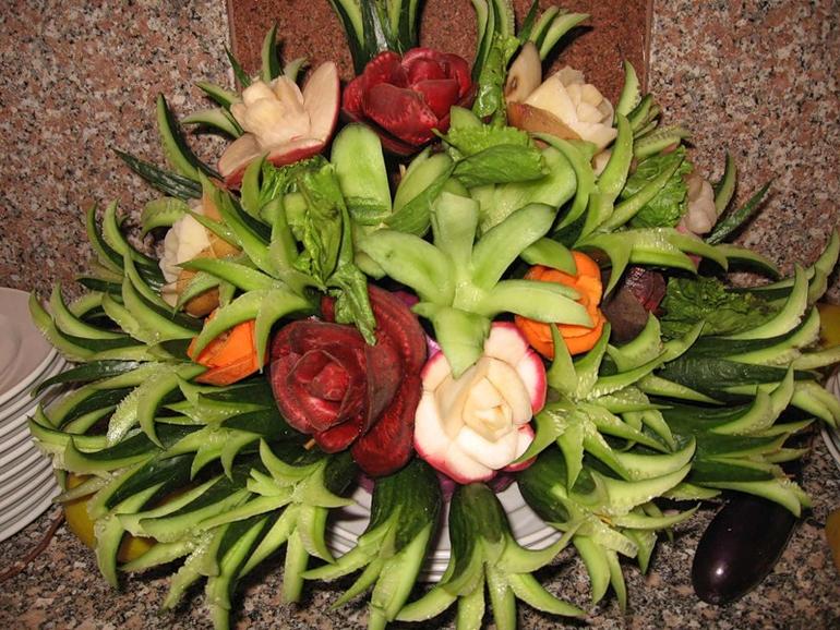 Поделки из овощей и фруктов своими руками цветы 4