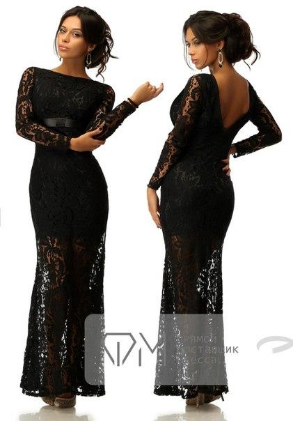 Фото черное гипюровое платье в пол