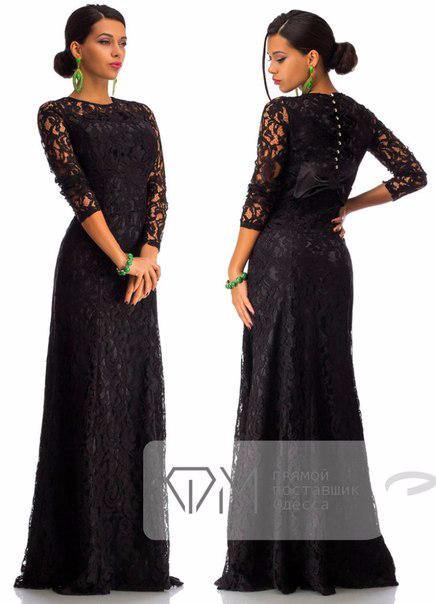 Черное длинное платье из гипюра