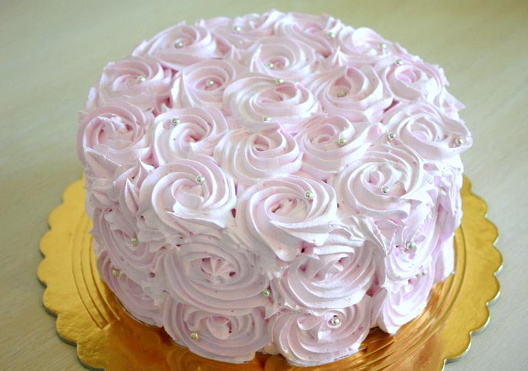 Как из крема сделать розу на торт из 426