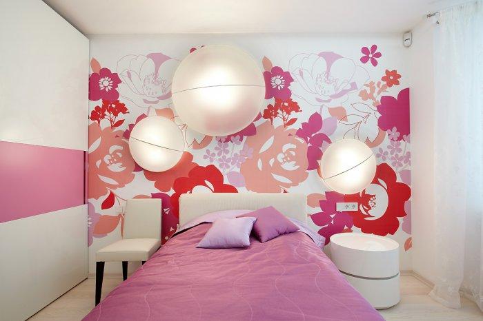 Покраска стен фото цветы