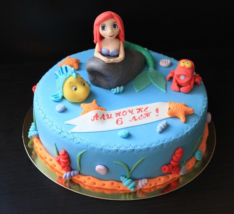 Торт  с русалочкой.