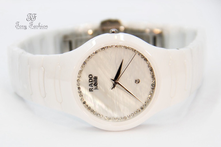 Женские белые керамические часы радо jubile