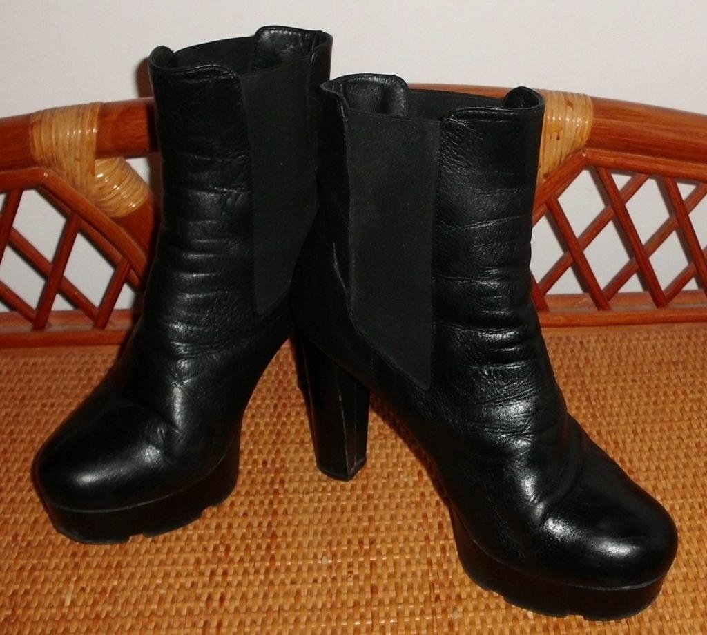 Ботинки ботильоны черные демисезонные натуральная