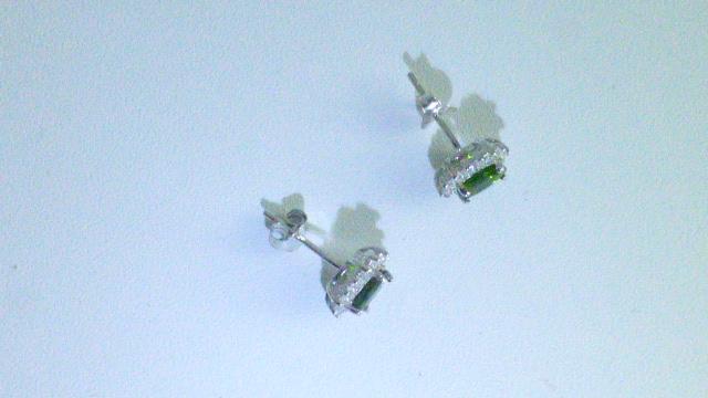 серьги-пусеты серебро+хромдиопсид+цирконы