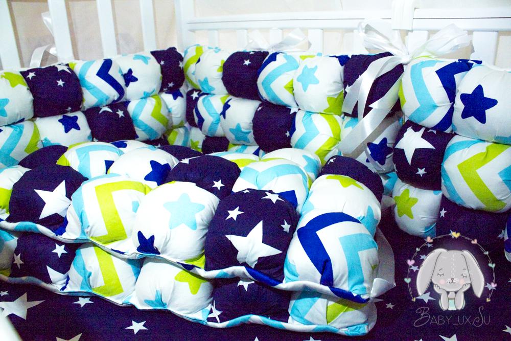 Комплект детский в кроватку 15 предметов из сатина