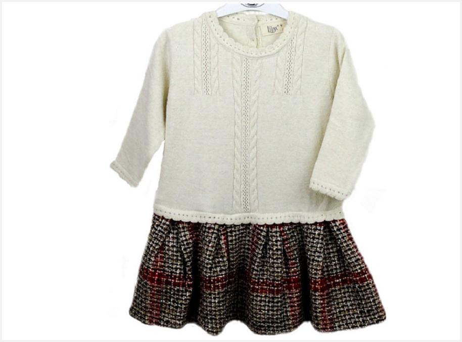 Платье детское вязаное с юбкой-шотландкой/Турция