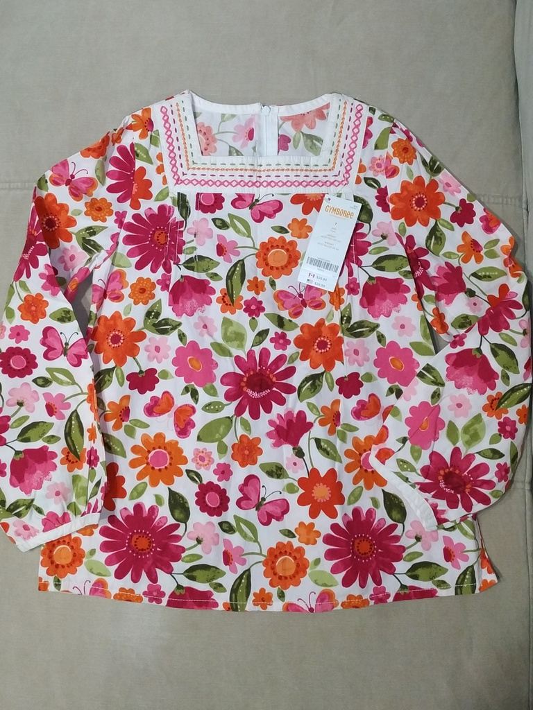Хлопковая блуза с цветами Gymboree р.7