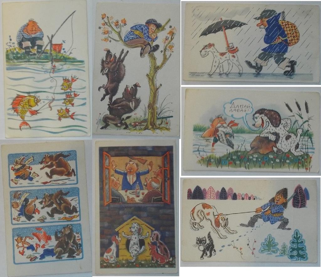 Открытка Орлов Шварц  юмор карикатура, сатира 1968