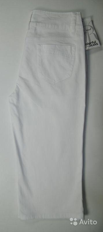Новые белые джинсовые бриджи стрейч р.50-56