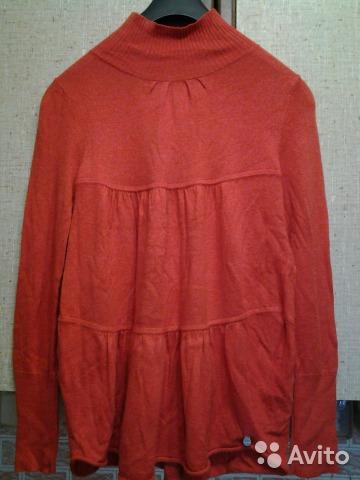 Свитер-туника р.М, сочный оранжевый цвет