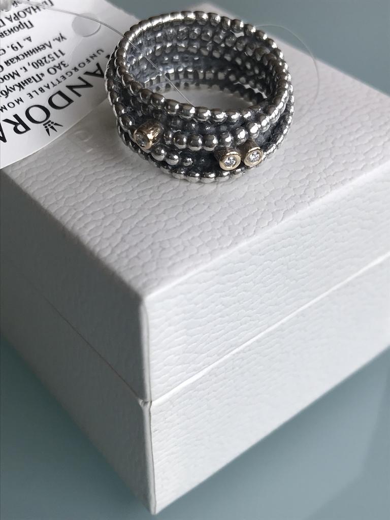 Pandora Оригинал. Кольцо с бриллиантами р.54.Новое