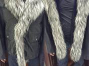 Дубленка новая Мужская с капюшоном размер 54 52 50 L XL XXL кожа чёрная овчина внутри и мех чернобурка лиса пришит парка на пуговицахкрутая