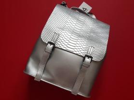 Новый кожаный женский  рюкзак ULA серебро