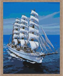 Белоснежный парусник - алмазная мозаика