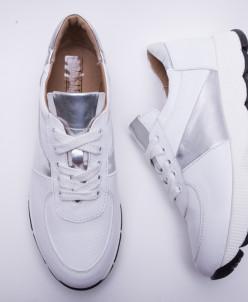 Кроссовки №374-3 белый + серебро 19
