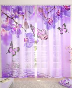Фототюль Бабочки у воды с орхидеями