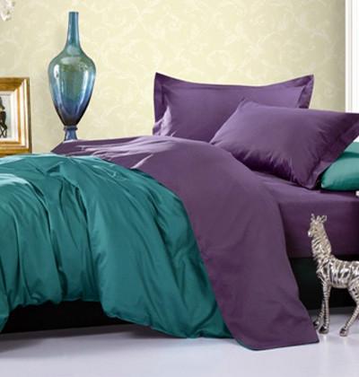 Двухцветные однотонные комплекты постельного белья сатин
