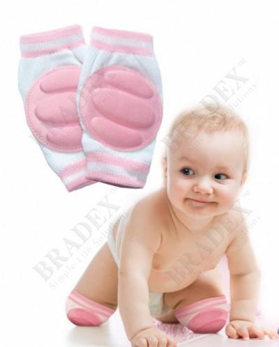 Наколенники детские для ползания розовые (baby thicken spong