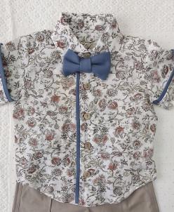 Рубашка принтованная с синей бабочкой