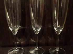 Бокалы для шампанского, стекло, 3шт