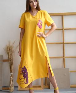 Платье 346/2, охра/принт