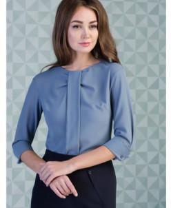 Блуза шифоновая серо-голубая