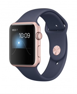 Apple Watch Ser2 42mm Aluminum Case with Sport Rosr Midnight