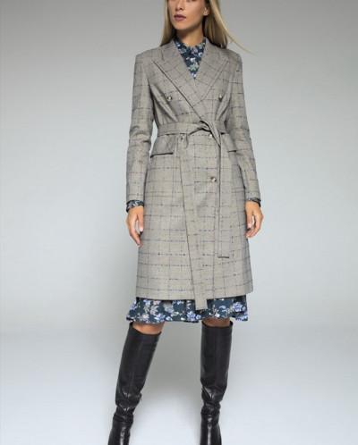 пальто LaVeLa Артикул: L70019 серый/клетка
