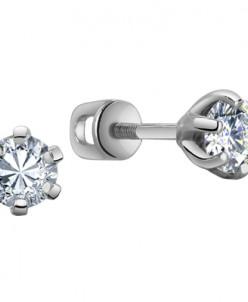 0023 Пусеты с фианитом родированные серебро 925*