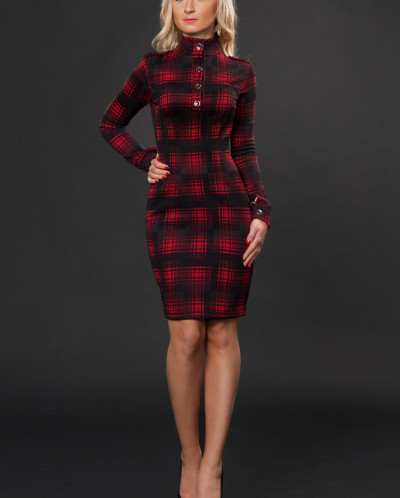 Платье № 882-красная клетка