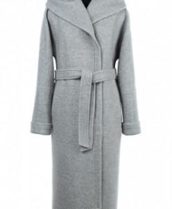 01-8078 Пальто женское демисезонное(пояс) Букле Светло-серый
