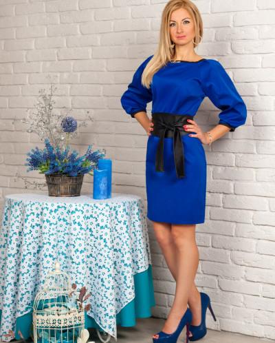 Платье № 844-синий