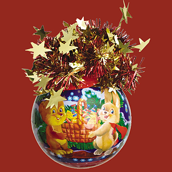 "Шар ""Рождественский"" (Ёж и Белка), диаметр 85 мм, арт. Ш8504"