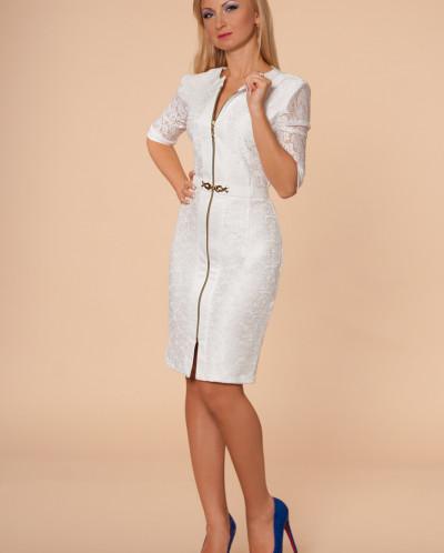 Платье № 873-белый