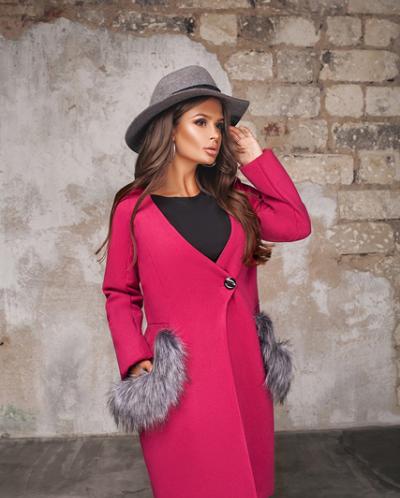Женское пальто 19721 малиновый