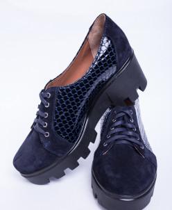 Туфли из натуральной  синей кожи и замши №343-1