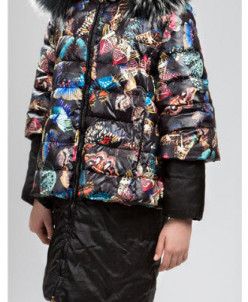 Пальто черное с принтом «Бабочки
