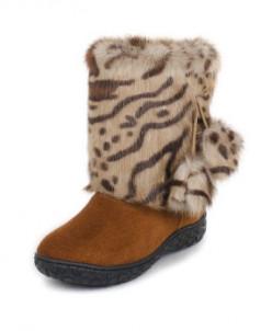 """Унты для девочки. Мех - """"леопард"""". Размеры: 31-35"""