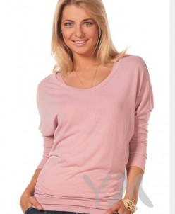 Блуза летучая мышь с топом жемчужно-розовая