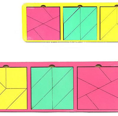 """Головоломка """"Собери квадрат"""" 3 фигуры, 28х10 см, уровень 3"""