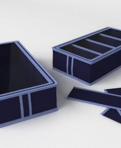 Короб для обуви, на 4 ячейки (классик синий)